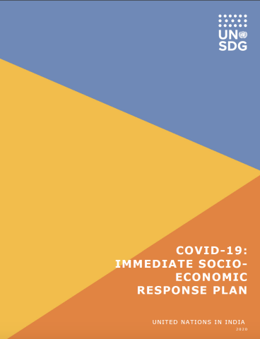 "Cover shows the title, ""COVID-19: Immediate Socio-Economic Response Plan for India"" on the bottom left against a colourful background."
