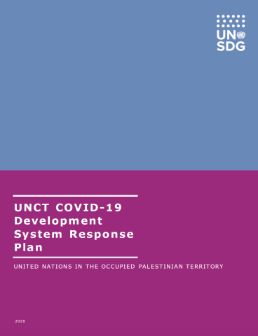 "Cover shows the title ""UNCT COVID-19 Development System Response Plan for Occupied Palestinian Territory"" over blue and purple background."