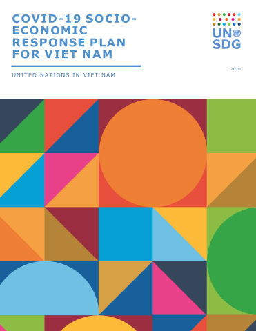 "Cover shows the title ""COVID-19 Socio-Economic Response Plan for Viet Nam"", over colorful triangles and dots"