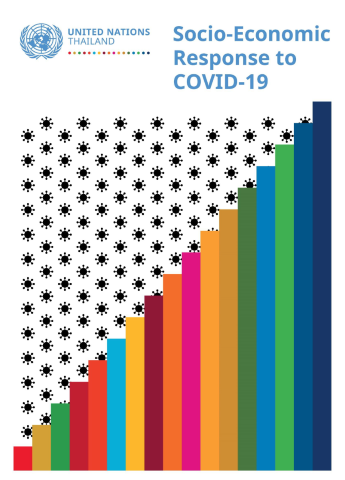 "Cover shows the title ""Socio-Economic Response to COVID-19 for Thailand"" with virus looking black dots and colorful bars."