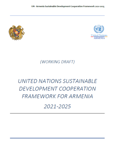 This document has a wide background.  To the top left is the Goverment of Armenia  symbol and on the top right is the UNCT logos.  The document is also watermarked 'working draft'
