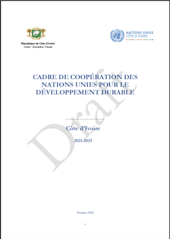 "This is a white document with the logo of the Government of Cote d'Ivoire to the left of the page and the UNCT logo of Cote d'Ivoire to the left.  It contains a grey ""Draft"" watermark in the background."