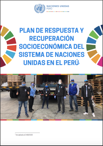 The cover shows a team of UN personnel social distancing and wearing face masks while standing in front of an truck and unloading area. The title is above with two half SDG wheels at either side facing the edges.