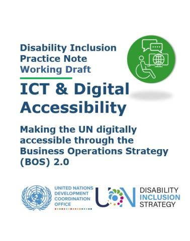 The image shows the title of the Practice Note, an icon of a person with a disability working in a computer that is accessible, the UNSDG, and UNDIS logo.