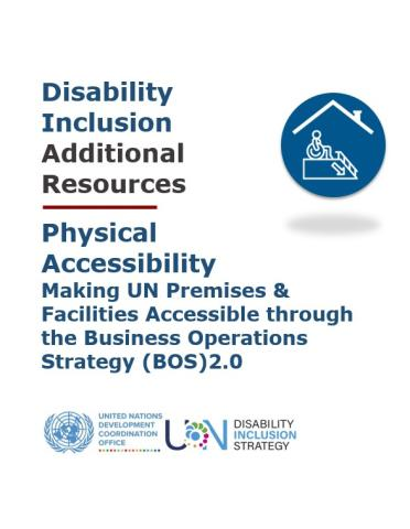 The image shows the title of the Additional Resources document, an icon in a blue circle with a person with disability under a roof, the UNSDG logo, and the UNDIS logo,