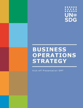 Business Operations Strategy presentation cover showing colourful tiles on the left and a solid blue background on the right.