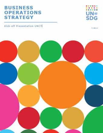 Business Operations Strategy presentation cover showing bright colourful circles against a white background.