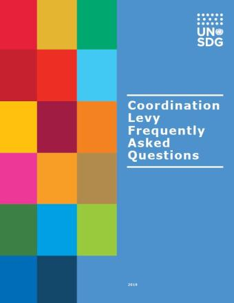 "Cover shows colourful grid on the left with the title, ""Coordination Levy Frequently Asked Questions,"" in white on the right against a  blue background."