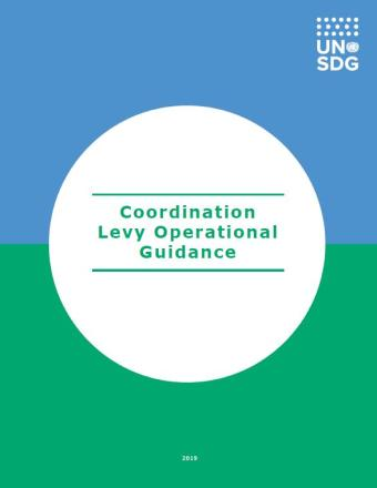 "Cover shows the title, ""Coordination Levy Operational Guidance,"" within a solid white circle placed at the forefront of a solid blue and green background."