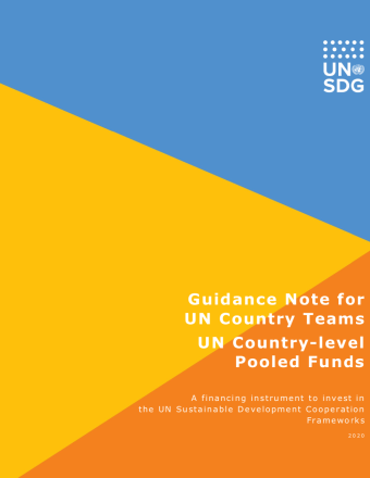 Cover shows the title over three diagonal triangle shapes with the UNSDG logo at the top right.