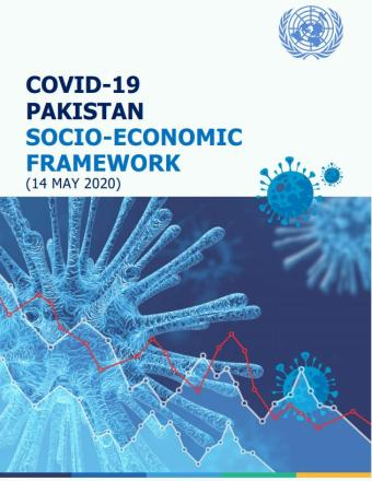 Cover of publication shows coronaviruses with COVID-19 Pakistan Socio-economic Framework