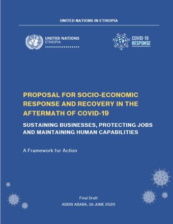 The cover of the report has the UN and COVID-19 Response logos in a blue background