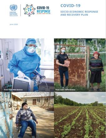 The cover has photos of a person wearing a PPE, a young lady wearing a mask and holding a mask standing next to an older lady, a man in a wheelchair seated by a gate and a field with crops.