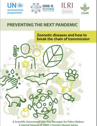 "The cover shows the title ""Preventing the Next Pandemci: Zoonotic diseases and how to break the chain of transmission"" above various illustrations of animals, outline of a person, hands and virus."