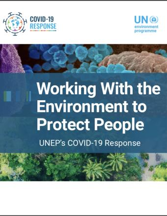 "Cover shows the title ""Working with the Environment to Protect People: UNEP's COVID-19 Response"" in front of a collage of environmental elements."