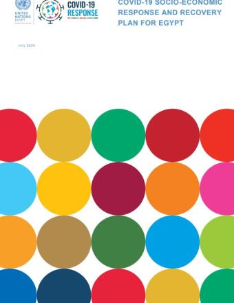"Cover shows the title ""COVID-19 Socio-Economic Response and Recovery Plan for Egypt "", over  colourful dots"