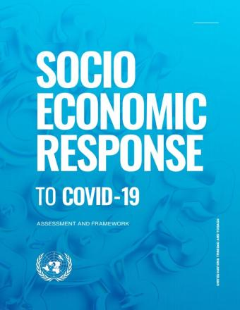 "Cover shows the title, ""Socio Economic Response to COVID-19 - Assessment and Framework for Trinidad and Tobago"", over blue background"