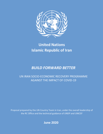 This is the cover of the report with the UN logo on top, the title of the report in the middle with a blue background.