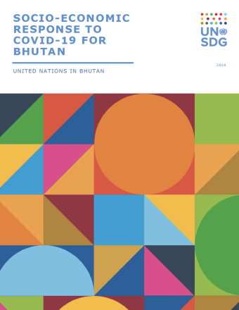"Cover shows the title, ""Socio-Economic Response to COVID-19 for Bhutan"" above colourful diagonal shapes."