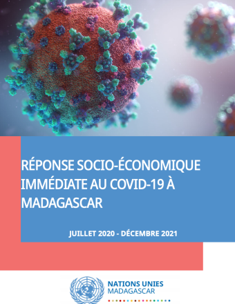 "Cover shows the title ""United Nations Framework for an Immediate Socio-Economic Response to COVID-19 in Madagascar"" over blue background and virus image."
