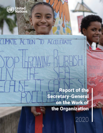 Two young students with their climate action signs in Albert Park, Suva, during a visit by Secretary-General António Guterres to Fiji as part of a trip to spotlight the issue of climate change ahead of the Climate Action Summit.