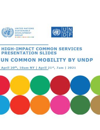 "Image of the title of the slides ""Un Common Mobility"" and logo of UNSDG and UNDP with SDG circles as decoration"