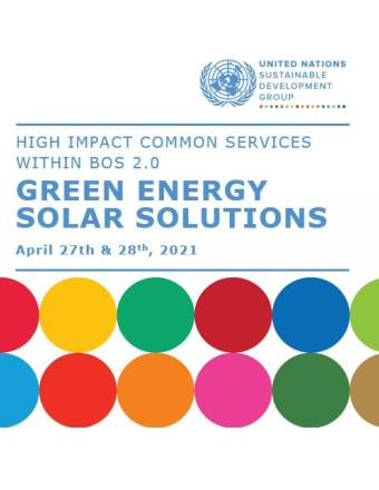 Cover Solar Solutions for the Business Operations Strategy. UNSDG and UNDP logo, and SDG color circles.
