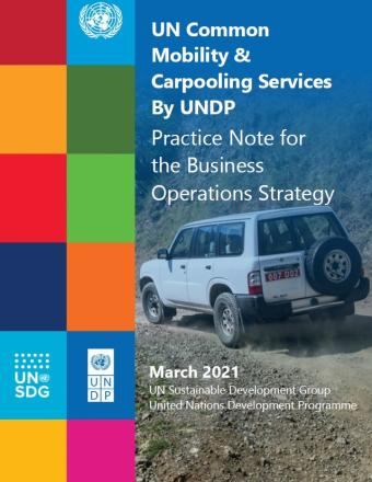 Cover with Title of the Practice note, a car driving on a dirt road, and the UNSDG and UNDP logos.