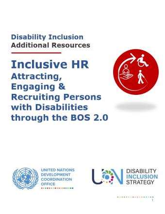 Title of Inclusive HR Services for the BOS, Additional Resources. An icon of inclusive HR services, UNSDG, and UNDIS.