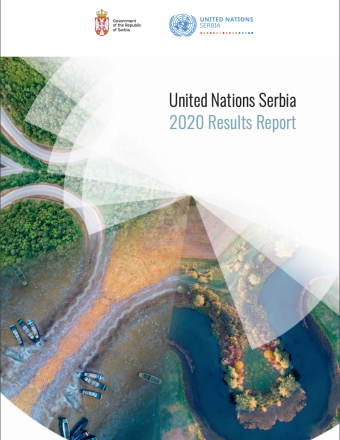 The cover shows an aerial view of a a body of water, road and vast forest with the title of the report against a white diagonal triangle on the upper right corner of the cover. The UNCT and country logos are just above the images and title.